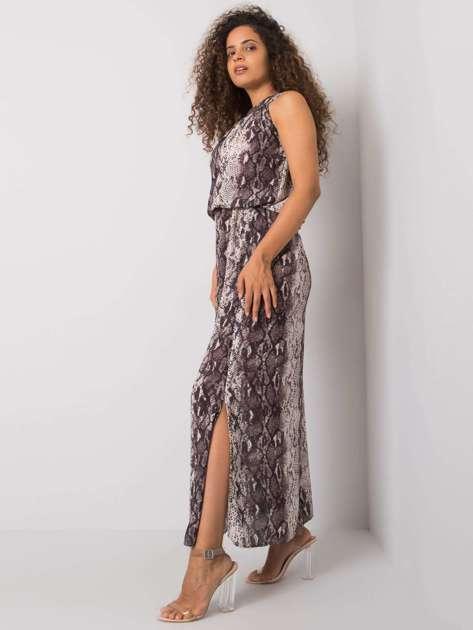 Ecru-szara długa wzorzysta sukienka Breena RUE PARIS