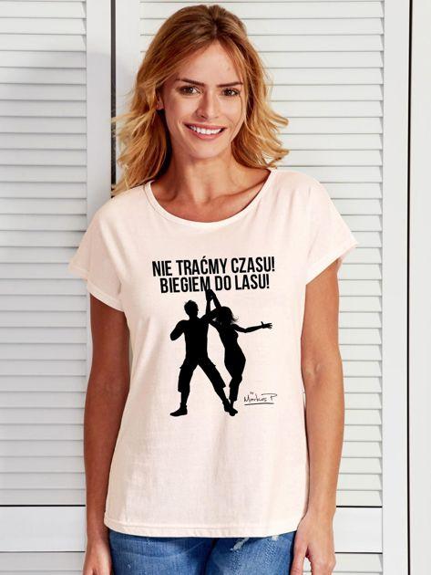 Ecru t-shirt damski NIE TRAĆMY CZASU by Markus P                                  zdj.                                  1