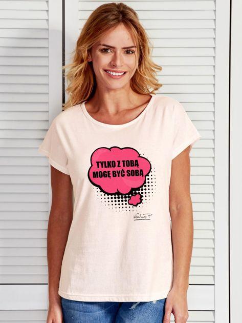 Ecru t-shirt damski Z TOBĄ MOGĘ BYĆ SOBĄ by Markus P                                  zdj.                                  1