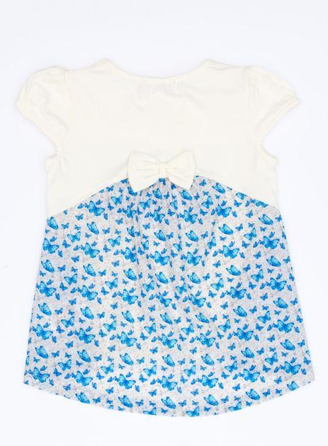 Ecru t-shirt dla dziewczynki z nadrukiem motyli                              zdj.                              2