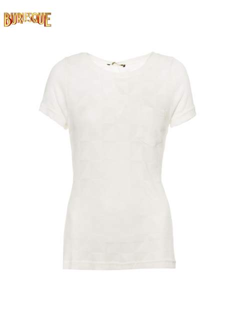 Ecru t-shirt z ażurowymi przeszyciami i kieszonką                                  zdj.                                  1