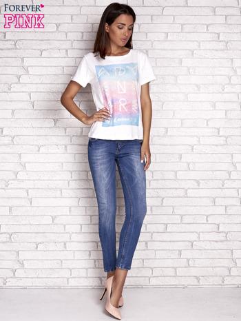 Ecru t-shirt z dżetami                                  zdj.                                  4