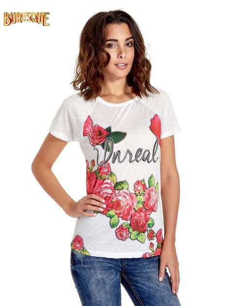 Ecru t-shirt z kwiatowym nadrukiem i napisem UNREAL                                  zdj.                                  1
