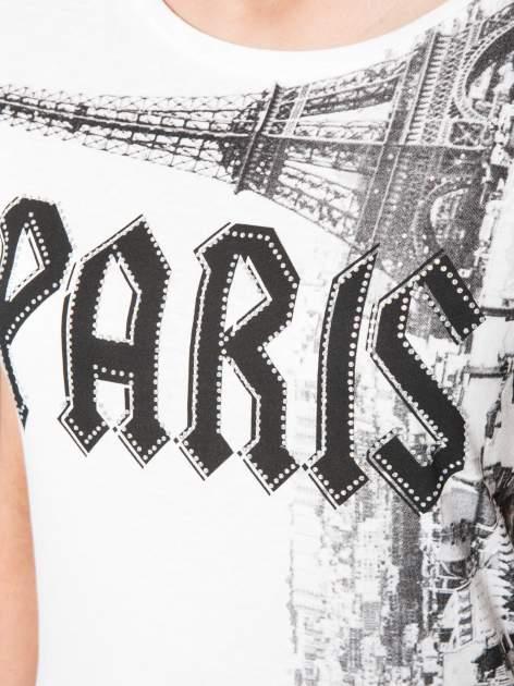 Ecru t-shirt z motywem Paryża                                  zdj.                                  7
