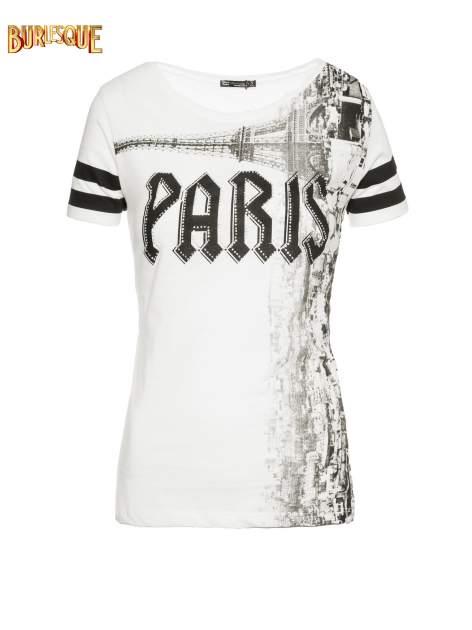 Ecru t-shirt z motywem Paryża                                  zdj.                                  1