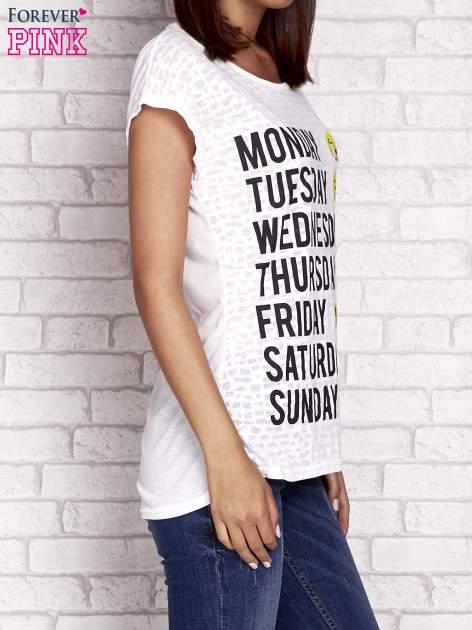 Ecru t-shirt z motywem dni tygodnia emoji weekday                                  zdj.                                  3