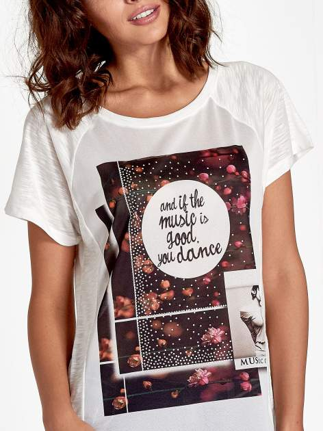 Ecru t-shirt z motywem muzycznym                                  zdj.                                  5