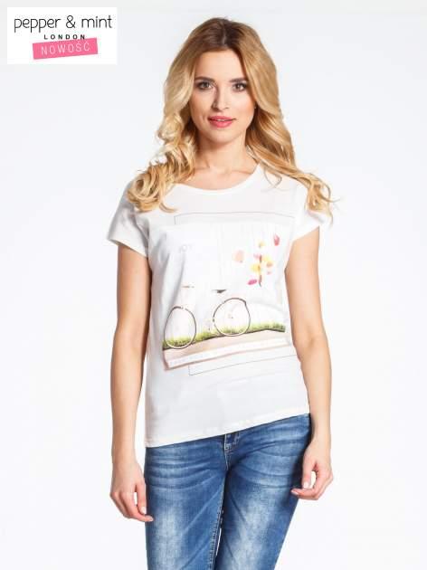 Ecru t-shirt z nadrukiem JOY OF LIFE                                  zdj.                                  1