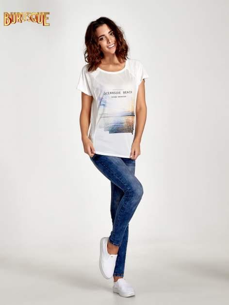 Ecru t-shirt z nadrukiem OCEANSIDE BEACH                                  zdj.                                  7