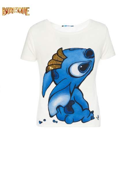 Ecru t-shirt z nadrukiem Stich                                  zdj.                                  1