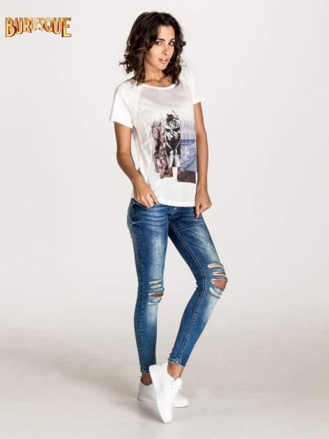 Ecru t-shirt z nadrukiem TAKE ME TO THE OCEAN z dżetami                                  zdj.                                  4