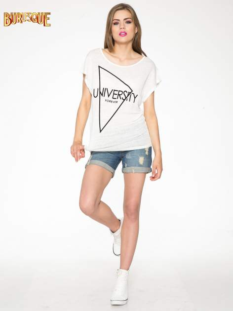 Ecru t-shirt z nadrukiem UNIVERSITY FORVER                                  zdj.                                  2
