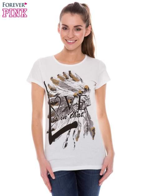 Ecru t-shirt z nadrukiem indianina                                  zdj.                                  1
