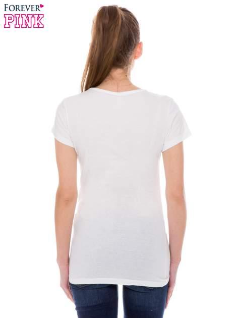 Ecru t-shirt z nadrukiem indianina                                  zdj.                                  3