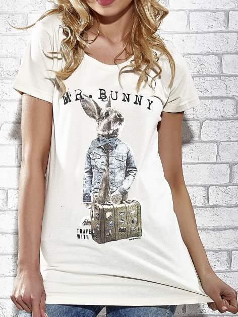 Ecru t-shirt z nadrukiem królika Funk n Soul                                  zdj.                                  5