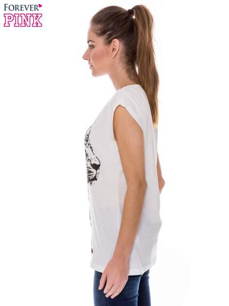 Ecru t-shirt z nadrukiem leoparda                                  zdj.                                  2