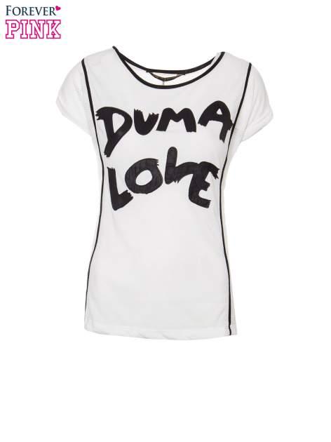 Ecru t-shirt z napisem DUMA LOVE                                  zdj.                                  2