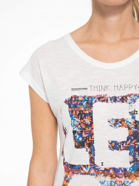 Ecru t-shirt z napisem LET GO                                  zdj.                                  6