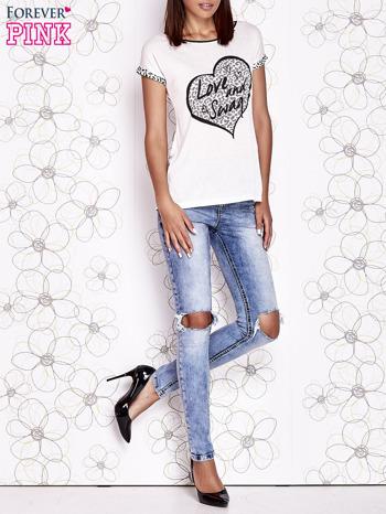 Ecru t-shirt z napisem LOVE AND SWAG                                  zdj.                                  6