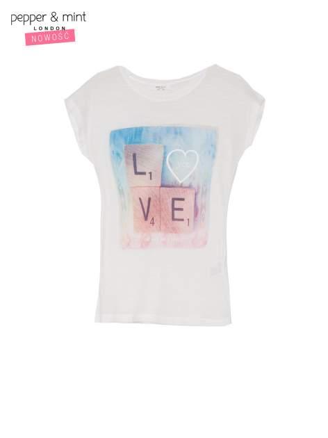 Ecru t-shirt z napisem LOVE z kostek Scrabble                                  zdj.                                  2