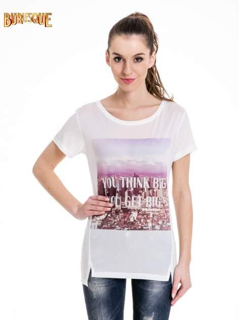 Ecru t-shirt z napisem YOU THINK BIG YOU GET BIG