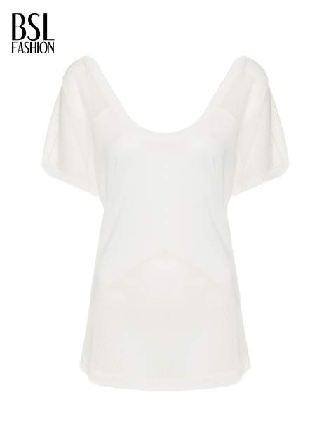 Ecru t-shirt z siateczkowymi wstawkami                                  zdj.                                  2