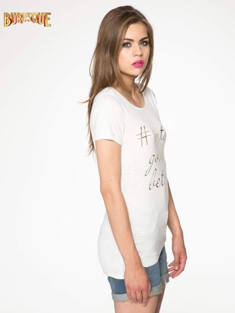 Ecru t-shirt ze złotym hasztagiem                                  zdj.                                  3