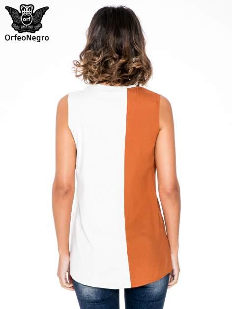 Ecru top w stylu fashion z asymetryczna wstawką                                  zdj.                                  4