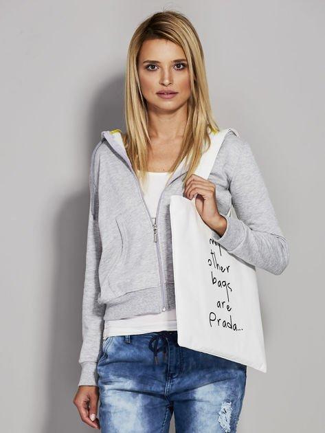 Ecru torba materiałowa MY OTHER BAGS ARE PRADA                                  zdj.                                  1