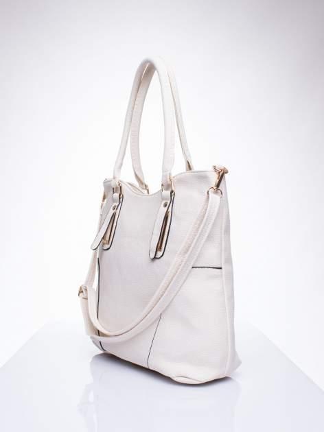 Ecru torba shopper bag ze złotymi okuciami przy rączkach                                  zdj.                                  2