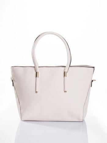 Ecru torba shopper efekt saffiano                                  zdj.                                  1