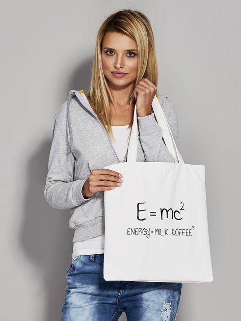 Ecru torba z napisem                              zdj.                              3