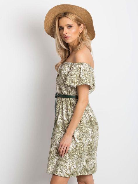 Ecru-zielona sukienka Mansion                              zdj.                              3