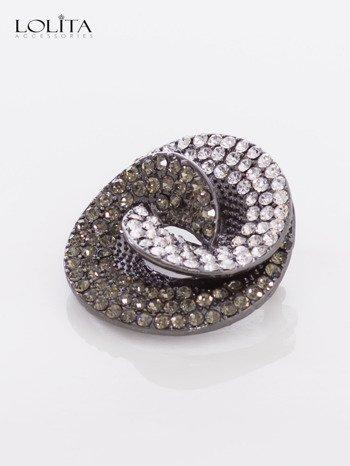Elegancka broszka z czarno-białych cyrkonii                                  zdj.                                  3