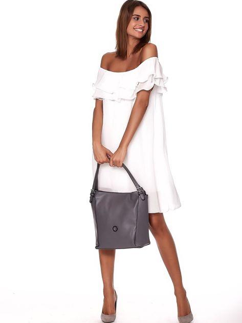 Elegancka ciemnoszara torba z eko skóry z logo                              zdj.                              1