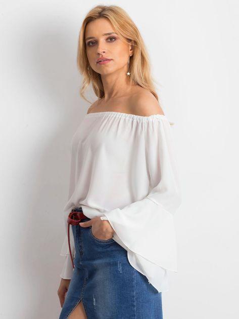 Elegancka gładka bluzka hiszpanka ecru                              zdj.                              3
