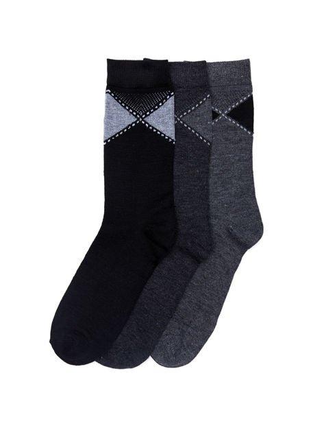 Eleganckie bawełniane skarpety męskie 3-pak wielokolorowe                              zdj.                              1