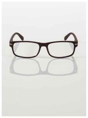 Eleganckie brązowe matowe korekcyjne okulary do czytania +2.0 D  z sytemem FLEX na zausznikach                                  zdj.                                  3