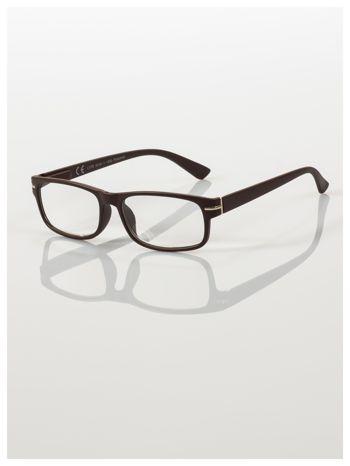 Eleganckie brązowe matowe korekcyjne okulary do czytania +3.5 D  z sytemem FLEX na zausznikach                                  zdj.                                  1