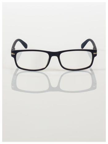 Eleganckie granatowe matowe korekcyjne okulary do czytania +3.0 D  z sytemem FLEX na zausznikach                                  zdj.                                  3