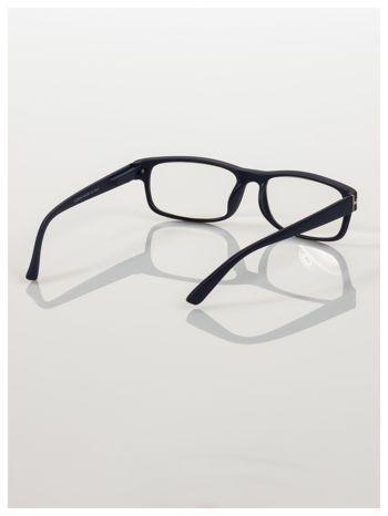 Eleganckie granatowe matowe korekcyjne okulary do czytania +3.5 D  z sytemem FLEX na zausznikach                                  zdj.                                  4