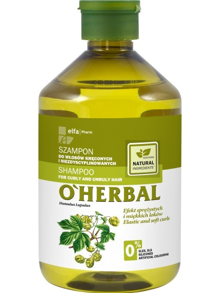 Elfa Pharm O'Herbal Szampon do włosów kręconych i niezdyscyplinowanych z chmielem 500 ml                              zdj.                              1