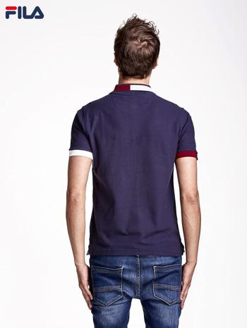 FILA Granatowa koszulka polo męska z kolorowym wykończeniem rękawów