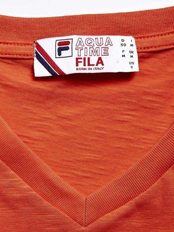 FILA Pomarańczowy t-shirt męski z dekoltem w serek                              zdj.                              4