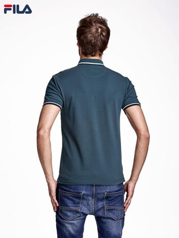 FILA Zielona koszulka polo męska z kontrastowym wykończeniem