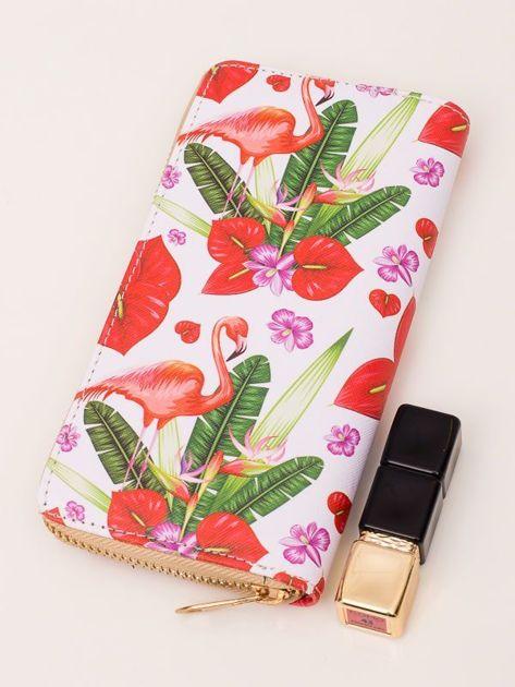 FLAMINGO Biały portfel damski z flamingami
