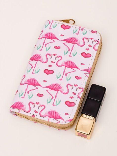 FLAMINGO Jasnoróżowy portfel damski z flamingami