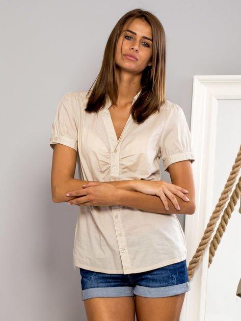 FUNK N SOUL Beżowa koszula z marszczonym rękawkiem                                  zdj.                                  1