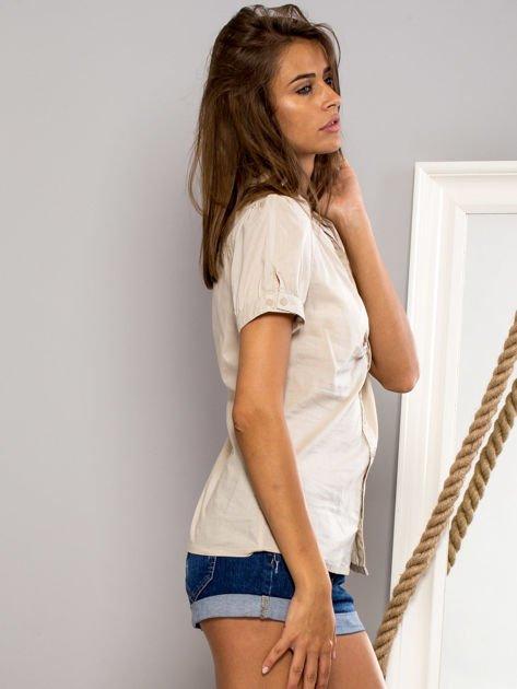 FUNK N SOUL Beżowa koszula z marszczonym rękawkiem                                  zdj.                                  3