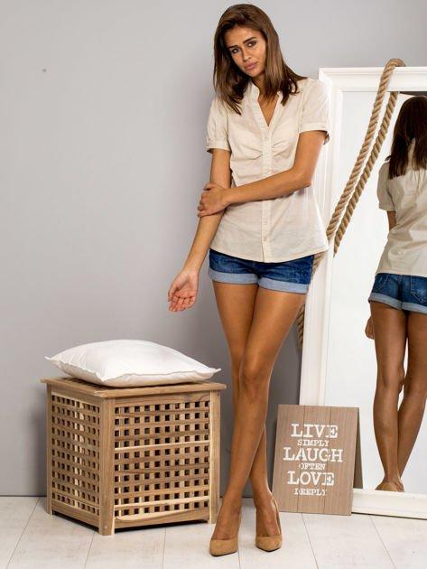 FUNK N SOUL Beżowa koszula z marszczonym rękawkiem                                  zdj.                                  4